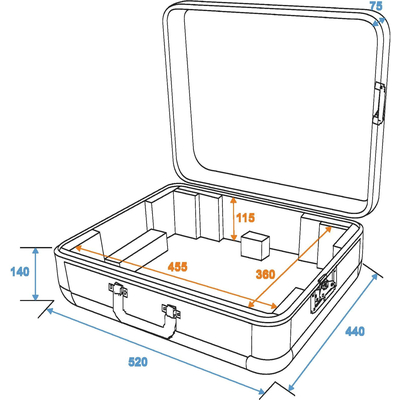 Flight case for a turntable (up to 450 mm wide) - Case Tour ALU black