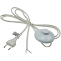 Power cable 2m with foot switch bare ends white
