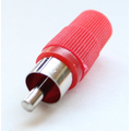 RCA plug solder joint plastic case red