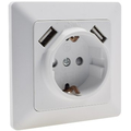 Protective contact socket + 2 x USB socket white matt