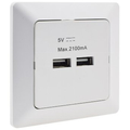 Double USB charging socket white matt